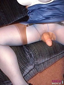 Sexy blue dress with matching nylons are the focus for this pantie lover
